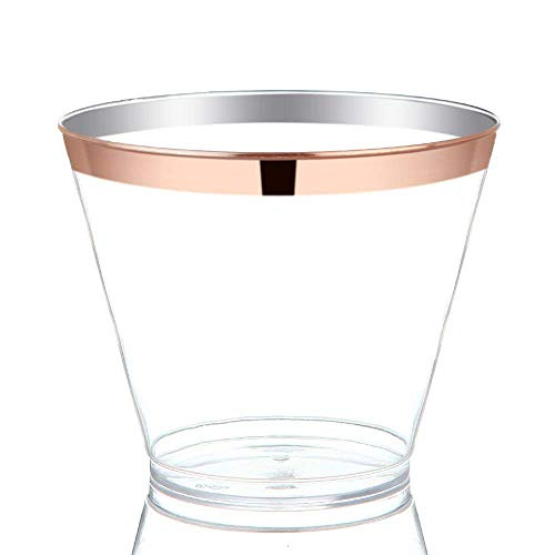 PURUDA 150 GUEST Gold Plastic Cups, Clear Plastic Cups, Wedding Disposable Cups, Disposable Wine Glasses, Catering Clear Cups, Gold Rimmed Plastic Cups, Plastic Party Cups (Rose Gold, 9 oz)