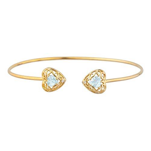 1 Ct Genuine Aquamarine & Diamond Love Engraved Heart Bangle Bracelet 14Kt Yellow Gold Rose Gold Silver ()