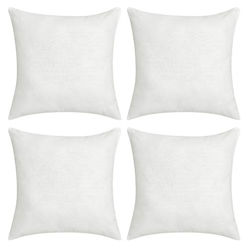 Deconovo Soft Cushion Covers Faux Linen Blank Pillow Covers Throw Pillow Cases for Sofa 18x18 Inch Off White Set of 4 Case Only No - Linen Set Sofa