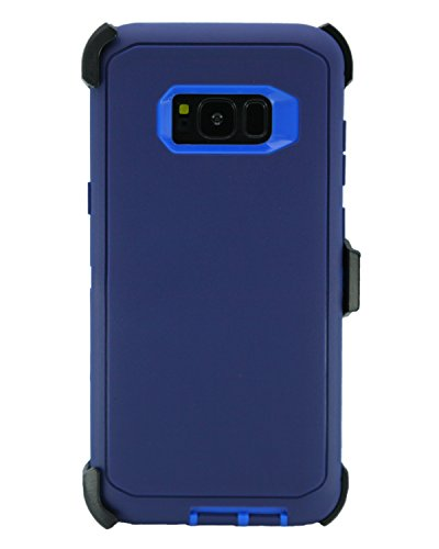 WallSkiN Turtle Series Cases for Samsung Galaxy S8 Plus (Only) Tough Protection with Kickstand & Holster - Midnight (Navy Blue/Blue)