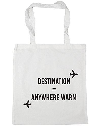 HippoWarehouse destino cualquier lugar cálido Tote Compras Bolsa de playa 42cm x38cm, 10litros blanco