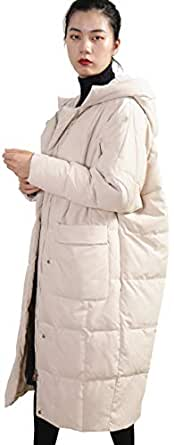 Distance Color Women's Thickened Long Down Coat (Large, Beige)