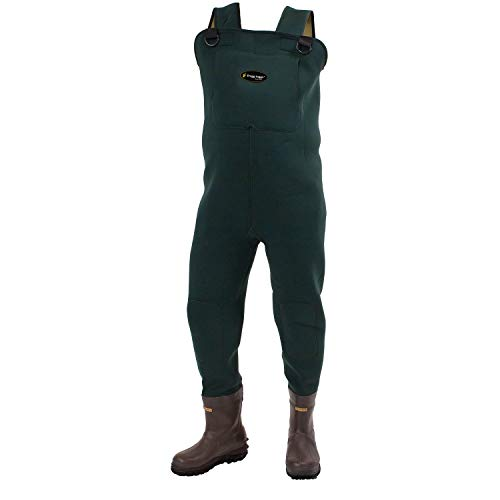 Frogg Toggs Amphib Neoprene Bootfoot Chest Wader, Cleated Outsole, Forest Green, Size 10