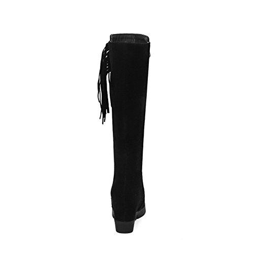 Allhqfashion Women's Frosted Zipper Round Closed Toe High-Heels High-Top Boots Black bpiWM