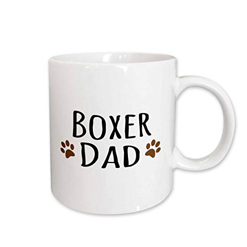 3dRose mug_153872_2 Boxer Dog Dad Doggie By Breed Brown Muddy Paw Prints Love Doggy Lover Proud Pet Owner Ceramic Mug, 15-Ounce ()