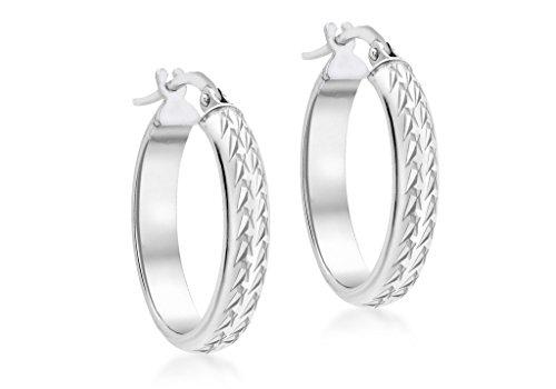 Or blanc 9Ct Coupe Diamant Ovale Boucles d'oreilles créoles