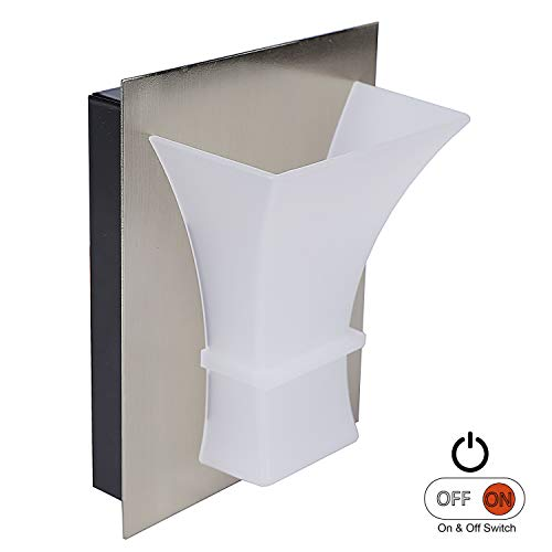 Facon 12V RV Wall Sconce Decorative LED Reading Lights with On&Off Switch, Brushed Nickel Based Frosted White Lens