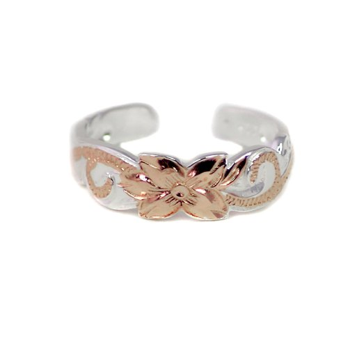 - Hawaiian Sterling Silver Rose Gold Flash Accent Scroll Toe Ring 6mm