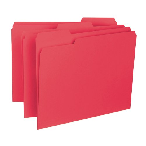 Smead Interior File Folder, 1/3-Cut Tab, Letter Size, Red, 100 per Box (10267) ()