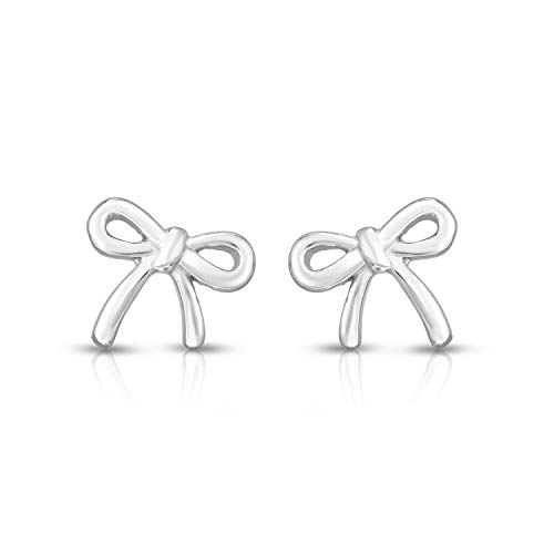 Unique Royal Jewelry 925 Sterling Silver Bow Tie Ribbon Stud Post Earrings (Rhodium Plated ()