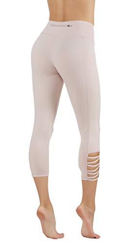 CodeFit Yoga Pants Power Flex Dry-Fit with CRIS Cross Leg Cutouts 7/8 Length Soled Color Leggings Key Pocket (M US Size 8-10, CF321/C110-P.PNK) by CodeFit (Image #1)