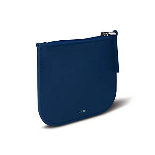 Lucrin - Funda con cremallera para auriculares - Rojo - Cuero Liso Cielo Azul