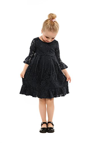 Arshiner Kids Girl O-Neck Long Sleeve Pullover Floral Pleated Lace Dress (Kids Black Dresses)