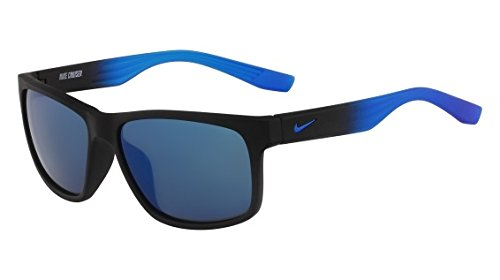 (Nike EV0835-001 Cruiser R Sunglasses (One Size), Matte Black/Photo Blue Fade, Grey with Blue Sky Flash Lens)