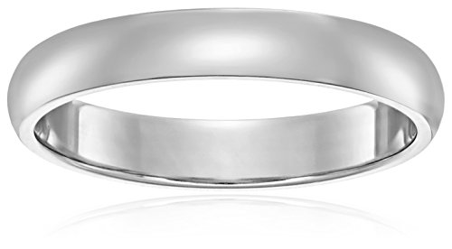 Light Comfort-Fit 14K White Gold Band, 4mm, Size 8.5 -