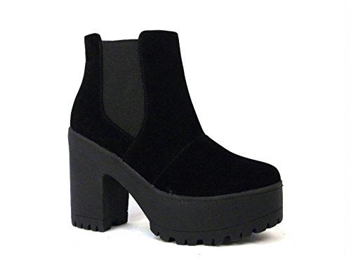 Bottes Noir Chelsea Blocs Talons Épais Thirsty Femmes Fashion Taille À Daim Synthétique Hauts Enfiler Semelle Compensée 1Cq4a