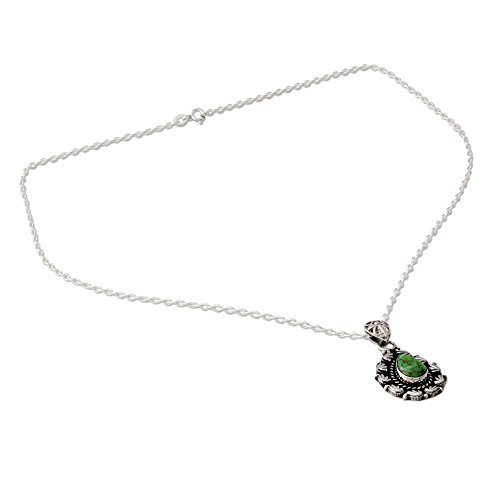 (NOVICA Reconstituted Turquoise .925 Sterling Silver Pendant Necklace, 18