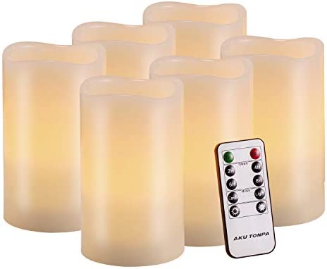 Flameless Candles Battery Operated Pillar Real Wax Flickering Electric LED Candle Gift Sets with Remote Control Cycling 24 Hours Timer by Aku Tonpa, 3 x5 Pack of 6