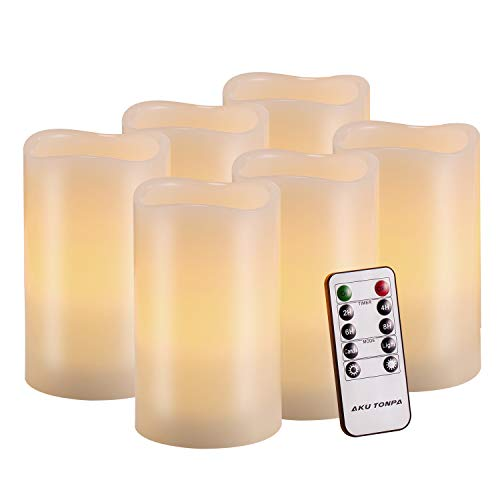 Flameless Candles Battery Operated Pillar Real Wax Flickering Electric LED Candle Gift Sets with Remote Control Cycling 24 Hours Timer by Aku Tonpa, 3x5 Pack of 6