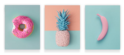 Holmkell Tropical Pink Minimalist Art -3 Prints Set- Pastel Wall Decor 8 x 10 Inches Modern Donut Banana and Pineapple Small Unframed Posters (Minimalist Outdoor Furniture)