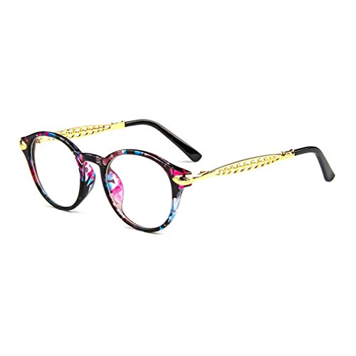 LOMOL Retro Personality Student Style Transparent Lens Round Frame Glasses For - Rim Half India Frames