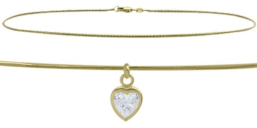 14K Yellow Gold 10'' Snake Style 0.85tcw. White Topaz Heart Charm Anklet by Elite Jewels