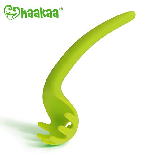 Haakaa Noodles-Friendly Baby Spoons – Silicone Baby Training Spoons Toddlers Utensils for Baby Led Weaning Self Feeding, BPA Free (Green)