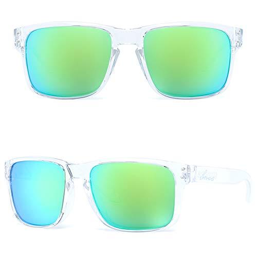 BNUS Italy made Classic Sunglasses for women Corning Real Glass Lens w. Polarized Option (Transparent/Green Flash Polarized, Polarized ()