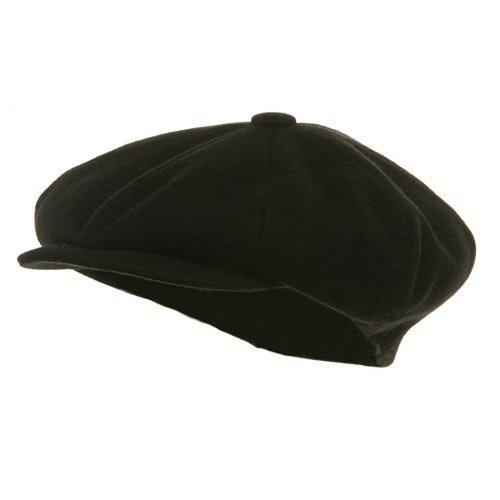 Big Apple Melton Wool Cap - Black (for Big Head)