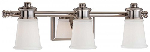 Minka Lavery Wall Light Fixtures 4533-613 Bath Art Glass Bath Vanity Lighting, 3 Light, Polished ()