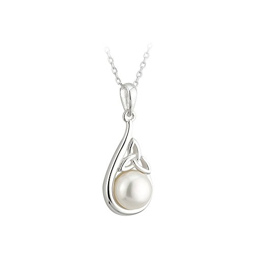 """Trinity Knot Meaning (Trinity Knot Pendant Silver & Synthetic Pearl 18"""" Rolo Chain)"""