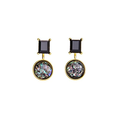 Gemstone Glass Shell Pendants - T-Doreen Studs Earrings Black Gems Shell Drop Earring for Women Front and Back Jewelry