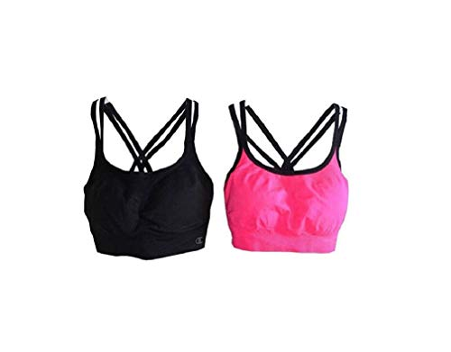 - Champion Women's Seamless Criss Cross Bras (2 Pack) (Small, Black/Pink)