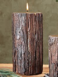 Amazon Com Extra Large Fir Bark Rustic Cabin Candle Set