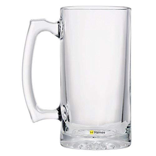Beer Mug, Hamee Heavy Duty Premium 16.9 oz Beer Glass/Beer Mug with Handle, Pack of 2 (Clear) ()