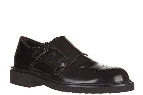Tods Mens Classique En Cuir Chaussures Formelles Slip On Monkstrap Noir