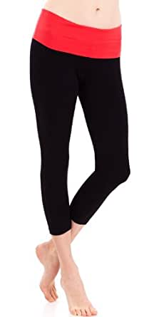 Coral Contrasting Fold-over Waist Ladies Black Yoga Capri Pants