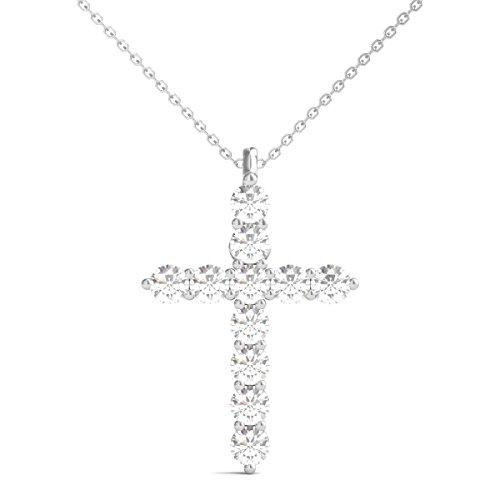 Diamond Cross Necklace (Diamond Studs Forever 14K White Gold Diamond Cross Pendant (1.00 Ct tw, IGI USA Certified GH/I1))