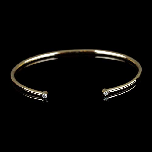 Natural 0.06 Ct Diamond Solid 14k Yellow Gold Cuff Bangle Bracelet Valentine Fine Handmade Jewelry