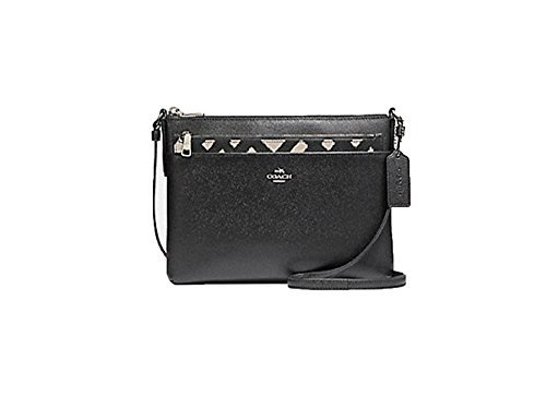 COACH EAST/WEST CROSSBODY WITH POP-UP POUCH WITH WILD PLAID PRINT F22251 Black Chalk Multi Coach Makeup Pouch