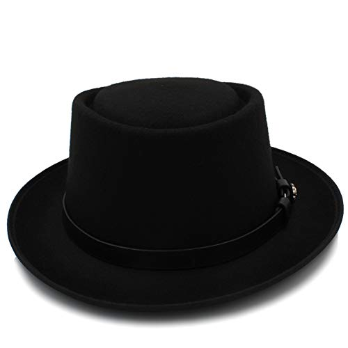 対立群衆近傍WZS HOME フラットトップメンズクラシックフェルトポークパイポークピエフェドラハットチャペーダキャップアップトンMasculinoパナマハット 帽子 (色 : ブラック, サイズ : 56-58CM)