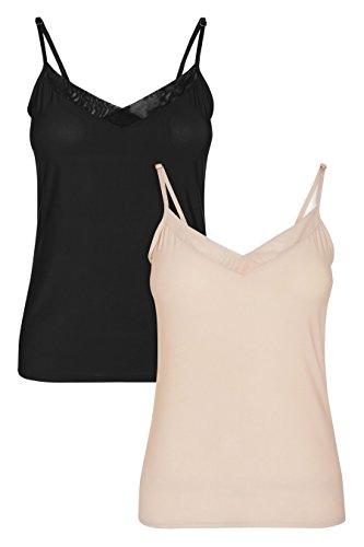 next Mujer Pack De Dos Camisolas Regular Top Ropa Negro / Desnudo