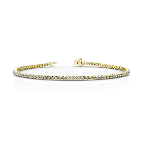 (TriJewels AGS Certified Round Diamond Tennis Bracelet (VS2-SI1, H-I) 1.30 ctw 14K Yellow Gold)