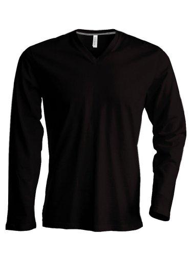Kariban Langarm T-Shirt mit V-Ausschnitt K358,Farbe:Red;Größe:L