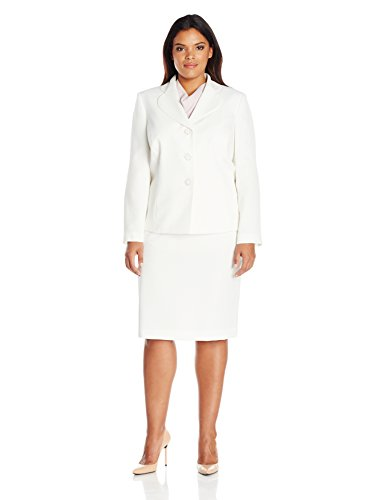 Le Suit Women's Plus Size 3 Button Skirt Suit, Vanilla Ice, 22W by Le Suit