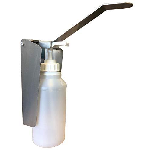 Handdesinfectiedispenser, desinfectiedispenser, 500 ml, met navulbare fles, wanddispenser, roestvrij staal, nr. 17