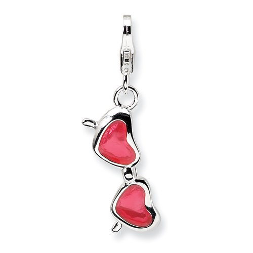 Sterling Silver Enameled Coral Heart Sunglasses W/Lobster Claw Clasp Clasp Charm Charms