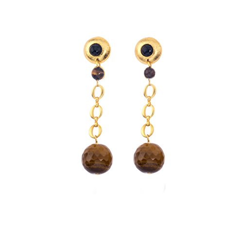 Galaxy Short Earring In Tigers Eye Sphere And Black Onyx (Pebble) by Stephanie Kantis