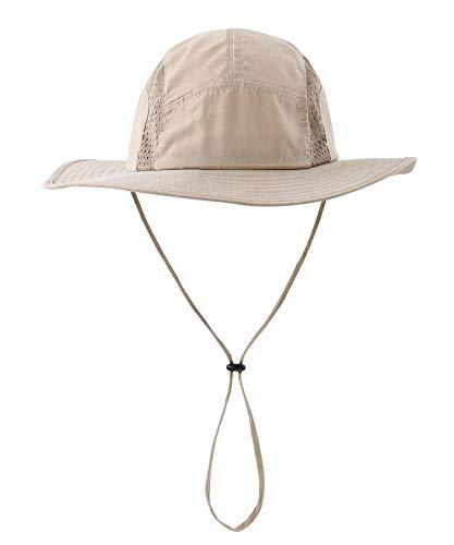 Home Prefer Men's Sun Hat UPF 50+ Wide Brim Bucket Hat Windproof Fishing Hats (N Khaki)]()
