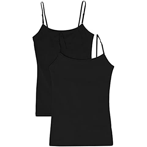 ed15995c81 Women s Camisole Built-in Shelf Bra Adjustable Spaghetti Straps Tank Top  2pk Black   Black small